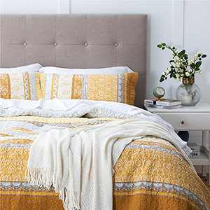 Bedsure Cotton Twin Size Quilt - Soft & Breathable All Season Twin Bedspread, 2 Pieces Bedspread & Coverlet Sets (Twin, 68x86 inches, Lemon Yellow)