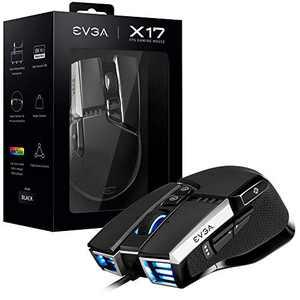 EVGA X17 Gaming Mouse, Wired, Black, Customizable, 16,000 DPI, 5 Profiles, 10 Buttons, Ergonomic 903-W1-17BK-KR