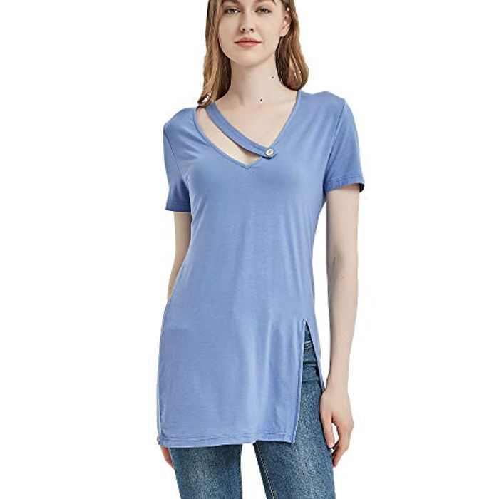 S.CHARMA Women Casual T Shirt,Jumper Dress for Woman Button V Neck Split Blouse Short Sleeve Cover up Ladies Top for Spring and Summer