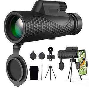 Benewell 12X50 Monocular Telescope, Day and Low Night Vision Waterproof High Power Monocular with Smartphone Holder & Tripod, BAK4 Prism Dual Focus for Bird Watching Hunting
