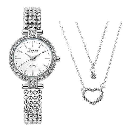 Women Necklace and Watch Set, Chain Heart Ladies Necklace, Wrist Watch Elegant Analog Quartz Wrist Watch with Stainless Steel Strap Minimalist Fashion Dial Watch Diamond Watch Gifts (A)
