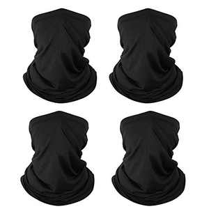4 Pack Neck Gaiter Face Mask Reusable: Washable Bandana Gaitor Mask, Headband Sun Dust Protection Face Covering Balaclava Scarf for Men Women,Cycling, Running,Hiking,Black