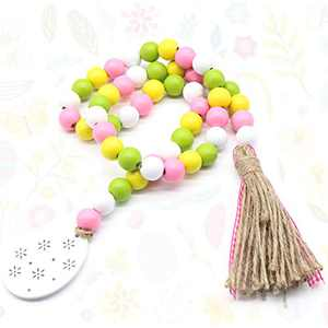 Wooden Bead Garland with Tassel and Wood Egg, 🏵 31.5in Spring Decorations for Home, Tiered Tray, Farmhouse, Holiday Party