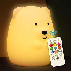 Cute Night Light for Kids Soft Silicone Baby Nursery Night Light with Remote Control Children Bed Room Décor Decoration Teenage Toddler Boys Girls Birthday Gift (Bear)