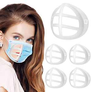 3D Bracket Inner Support Frame Silicone for Comfortable Breathing Smoothly Lipstick Protection Reusable Washable 5PCS Clear