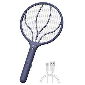 ZUOBIEZI Rechargeable Bug Zapper Electric Fly Zapper Racket, Fly Swatter Racquet Mosquito Insects Gnat Killer Handheld 3,000 Volt Indoor Outdoor (Blue)