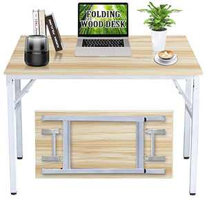 """Folding Desk, 39 """" Writing Desk for Home Office, Folding Desks for Small Spaces, Foldable Table with Stainless Steel Frame, Non-Slip, Waterproof, Scratch Resistant, Easy to Storage, Natural & White"""