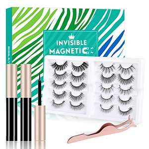 Upgraded Magnetic Eyelashes with Eyeliner, Invisible Magnetic Lashes False Mink Kits with 2 Liquid Eyeliner 10 Invisible Reusable Waterproof False Eyelashes