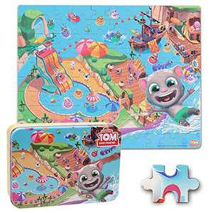 LELEMON Talking Tom and Friends 100 Pieces Jigsaw Puzzles for Ages 4-8 Wooden Floor Iron Box Puzzles for Toddler Children Playing Funny Learning Educational Toys