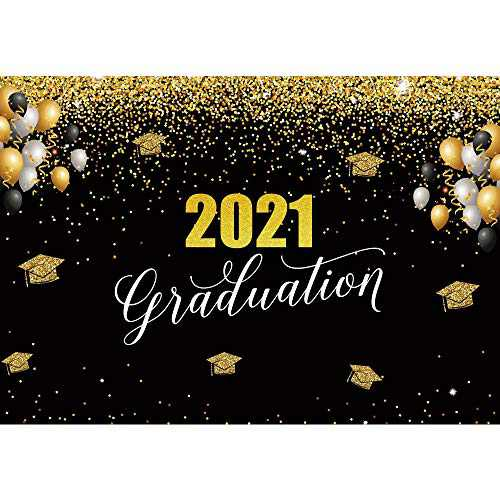 Haboke 7x5ft Soft Fabric 2021 Graduation Class Photo Backdrop Black and Glold Banner Photography Decorations Supplies Black Background Booth Studio Props