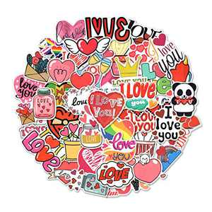 Love Stickers for Laptop, Scrapbooking, Envelop, Waterproof Stickers for Water Bottles, Trendy Vinyl Stickers Decals for Phone Case, Weeding, Scrapbook, Girls Adults, 50pcs