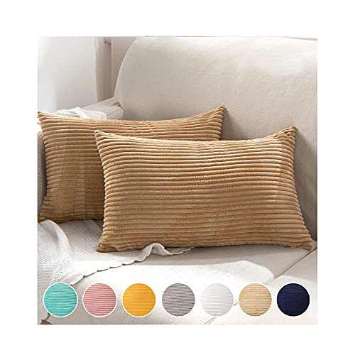 KAYCEE ROSE Pack of 2 Throw Pillow Covers Striped Corduroy Decorative Cushion Covers Home Design for Couch, Sofa, Bed, Living Room, 12x20 Inches, Brown