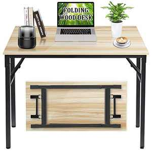 "Folding Desk, 39 "" Writing Desk for Home Office, Folding Desks for Small Spaces, Foldable Table with Stainless Steel Frame, Non-Slip, Waterproof, Scratch Resistant, Easy to Storage, Natural & Black"
