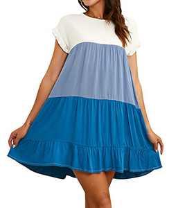 SWIWOEL Women's Summer Casual Dress Ruffle Short Sleeve Color Block Round Neck Sweet Cute Flowy Shift Babydoll Tunic Dress Blue