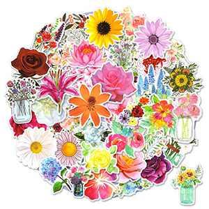 50pcs Flower Stickers for Scrapbook, Waterproof Stickers for Laptop, Trendy Vinyl Stickers for Water Bottles, [Flower Blooming] Sticker Pack Decals for Phone Case, Scrapbook, Adults, Girls