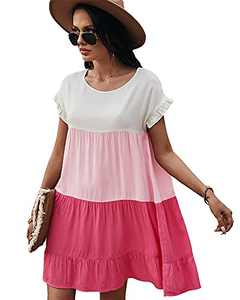 SWIWOEL Womens Plus Size Bell Sleeve Color Block Round Neck Flowy Swing Mini T Shirt Babydoll Tunic Vocation Dress Red