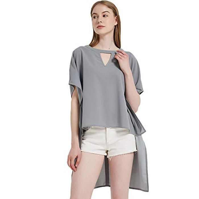 S.CHARMA Women Long Tops,Summer Short Batwing Sleeve Blouse Irregular Hem Ladies Choker Top Casual Loose Blouses