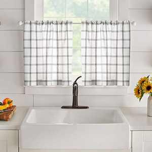 "Elrene Home Fashions Farmhouse Living Double Windowpane Plaid Window Kitchen/Café and Bathroom Tier Set of 2, 30""x24"", White/Grey"