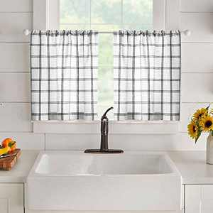 "Elrene Home Fashions Farmhouse Living Double Windowpane Plaid Window Kitchen/Café and Bathroom Tier Set of 2, 30""x36"", White/Black"
