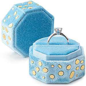 neopai Ring Box for Proposal , Engagement Ring Bearer Box with Fancy Golden-Stones, Silky Velvet Wedding Ring Case (Sky Blue)