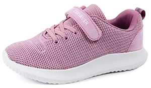 CAMVAVSR Girls Shoes Boys Athletic Shoes Kids Slip On Sneakers Lightweight Breathable Strap Tennis Shoes for Young Teen Spring School Uniform Pink Size 10.5 M US Little Kid