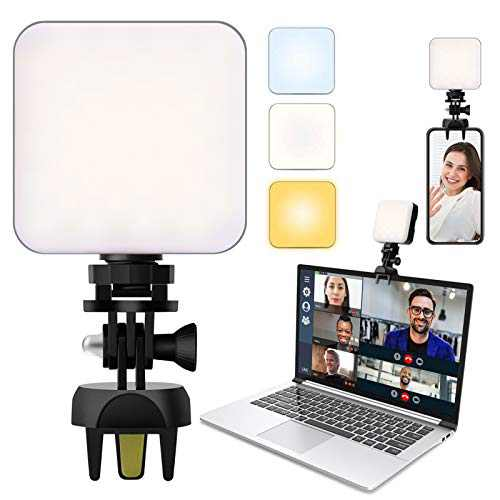 Video Conference Lighting with Upgraded Clamp Mount, Zoom Lighting for Computers, 2500-6500K Dimmable Laptop Webcam Lighting for Video Conferencing, Remote Working and Self Broadcasting