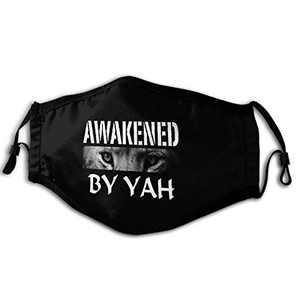 Unisex Reusable Face Mask Hebrew Israelite Gift Lion Eyes Awakened by Yah Outdoor Fashion Face Mouth Cover Balaclava Black