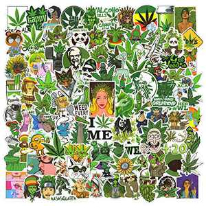 Cool Weed Stickers 100pcs, Waterproof 420 Marijuana Stickers for Adults Vinyl Laptop Stickers Decals for iPad, Water Bottles, Phone Case, Skateboard, Car Bumper, PS4, Xbox