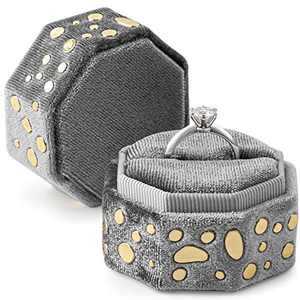 neopai Ring Box for Proposal , Engagement Ring Bearer Box with Fancy Golden-Stones, Silky Velvet Wedding Ring Case(Silver Gray)