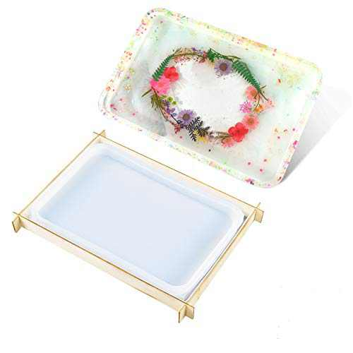 Resin Molds Silicone,Rolling Tray Mold with Edges Mocomfor Large Tray Molds for Epoxy Resin with Support Casting DIY Home Decor