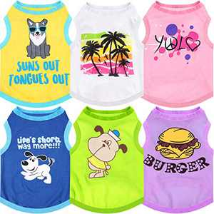 6 Pieces Printed Puppy Dog Shirts Pet Shirt Soft Breathable Pet T-Shirt Printed Pet Clothing for Dogs and Cats (Small)