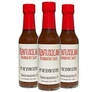 Kentuxican Bourbon Hot Sauce - Premium Mexican Hot Sauce Made with Authentic Kentucky Bourbon, Habanero, Carolina Reaper, Chile de Arbol - Natural, Keto Friendly, No Preservatives - 5 oz - Pack of 3