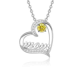 BAUMA AUTO Mom Necklace S925 Mother's Day Necklace with 5A Cubic Zirconia Simulated Birthstones Heart Pendant, Women Necklace for Mother's Birthday Mom Wife Sister Mother's Day (11-November)