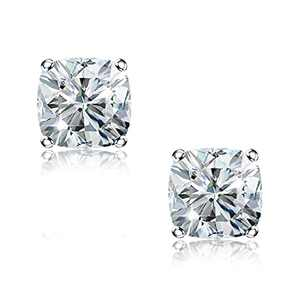 """""""STUNNING FLAME"""" 18K White Gold Plated 925 Sterling Silver Cubic Zirconia Cushion Cut Stud Earrings 