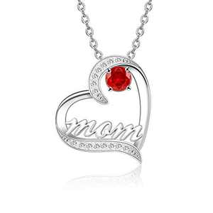 BAUMA AUTO Mom Necklace S925 Mother's Day Necklace with 5A Cubic Zirconia Simulated Birthstones Heart Pendant, Women Necklace for Mother's Birthday Mom Wife Sister Mother's Day (07-July)