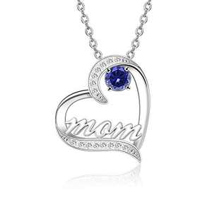 BAUMA AUTO Mom Necklace S925 Mother's Day Necklace with 5A Cubic Zirconia Simulated Birthstones Heart Pendant, Women Necklace for Mother's Birthday Mom Wife Sister Mother's Day (09-September)