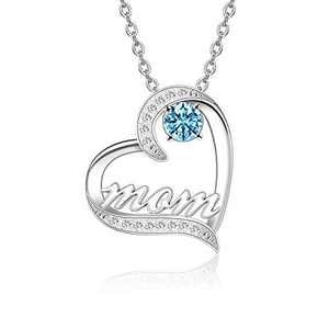 BAUMA AUTO Mom Necklace S925 Mother's Day Necklace with 5A Cubic Zirconia Simulated Birthstones Heart Pendant, Women Necklace for Mother's Birthday Mom Wife Sister Mother's Day (03-March)