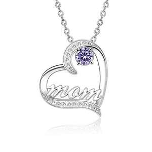 BAUMA AUTO Mom Necklace S925 Mother's Day Necklace with 5A Cubic Zirconia Simulated Birthstones Heart Pendant, Women Necklace for Mother's Birthday Mom Wife Sister Mother's Day (06-June)