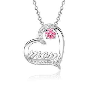 BAUMA AUTO Mom Necklace S925 Mother's Day Necklace with 5A Cubic Zirconia Simulated Birthstones Heart Pendant, Women Necklace for Mother's Birthday Mom Wife Sister Mother's Day (10-October)