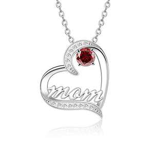 BAUMA AUTO Mom Necklace S925 Mother's Day Necklace with 5A Cubic Zirconia Simulated Birthstones Heart Pendant, Women Necklace for Mother's Birthday Mom Wife Sister Mother's Day (01-January)