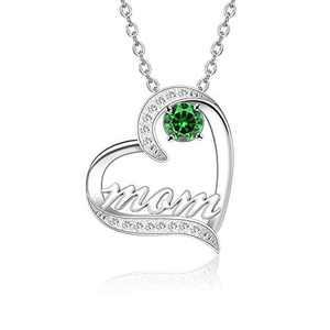 BAUMA AUTO Mom Necklace S925 Mother's Day Necklace with 5A Cubic Zirconia Simulated Birthstones Heart Pendant, Women Necklace for Mother's Birthday Mom Wife Sister Mother's Day (05-May)