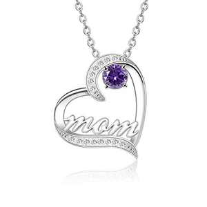 BAUMA AUTO Mom Necklace S925 Mother's Day Necklace with 5A Cubic Zirconia Simulated Birthstones Heart Pendant, Women Necklace for Mother's Birthday Mom Wife Sister Mother's Day (02-February)