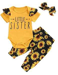 Baby Girls Little Sister Outfit Set Floral Short Sleeve Bodysuit (Yellow, 6-12 Months)