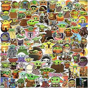 100pcs Baby Yoda Stickers Pack, Star Wars Stickers for Laptop Water Bottle Skateboard Cars, Bumper, Cute Mandalorian Sticker Decals for Adults