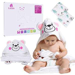 Lictin Infant Bath Towels - Hooded Baby Bath Towel Absorbent, Baby Towel Newborn Set Breathable, Baby Hooded Towel Soft with Bear Pattern(75*110cm)