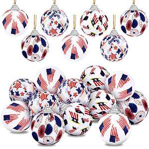 Independence Day Hanging Ball USA Patriotic Ball Ornaments 4th of July Cloth Ball Hanging Decorations American Flag Pattern Ball Independence Day Party Decor (12 Pieces)