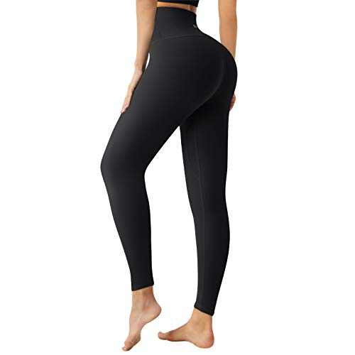 Letsfit High Waisted Leggings for Women, Workout 7/8 Length Yoga Pants Tummy Control Leggings for Women Black Medium