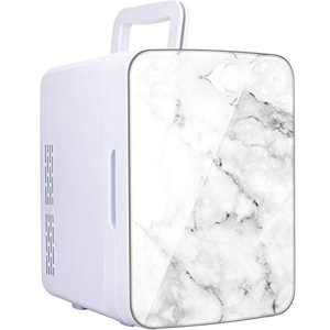 YITAMOTOR White Mini Fridge 10 Liter/10 Can Portable Compact Personal Cooler and Warmer Small Refrigerator for Bedroom, Office, Car, Skin Care, Milk, Drinks, Food (Marble Style)
