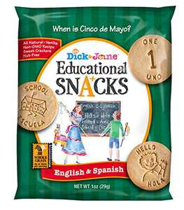 Educational Snacks I English & Spanish Bilingual edition I 10 numbers & 50 words (30) 1oz Bags | Sweet Vanilla Crackers ALL NATURAL, NON-GMO & NUT FREE