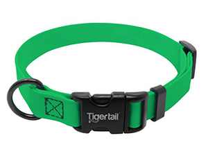 Tiger Tail Urban Nomad Dog Collar | Lightweight, Waterproof & Odor Proof | Durable Coated Rubber Material - Anti-Mat | Green, Extra Small